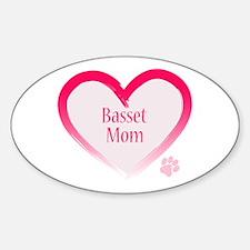 Basset Pink Heart Decal