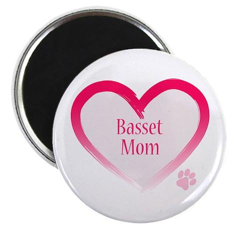 """Basset Pink Heart 2.25"""" Magnet (100 pack)"""