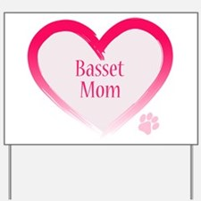 Basset Pink Heart Yard Sign