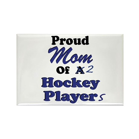 Mom 2 Hockey Players Rectangle Magnet