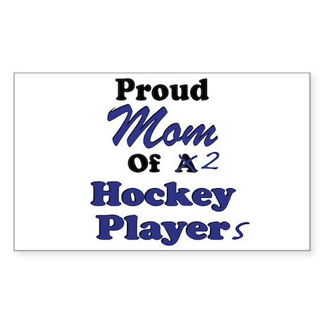 Mom 2 Hockey Players Sticker (Rectangular)