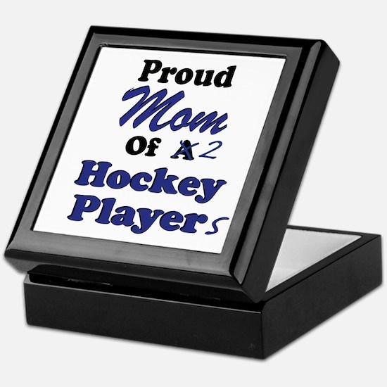 Mom 2 Hockey Players Keepsake Box