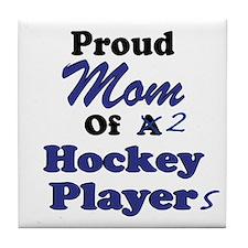 Mom 2 Hockey Players Tile Coaster