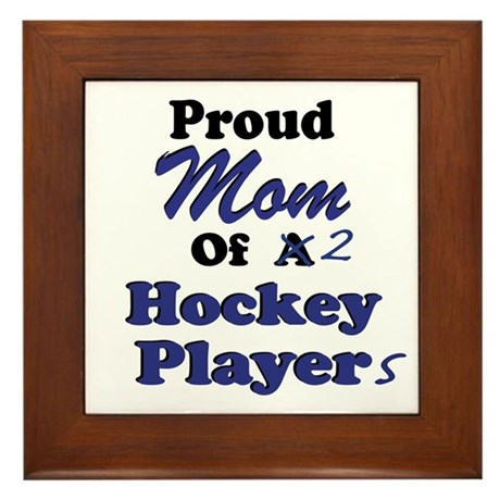 Mom 2 Hockey Players Framed Tile