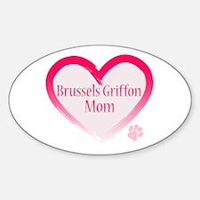 Brussels Griffon Pink Heart Sticker (Oval)