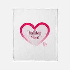 Bulldog Pink Heart Throw Blanket