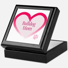 Bulldog Pink Heart Keepsake Box