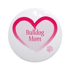 Bulldog Pink Heart Ornament (Round)
