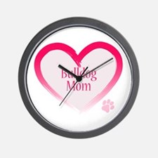 Bulldog Pink Heart Wall Clock