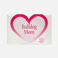 Bulldog Pink Heart Rectangle Magnet