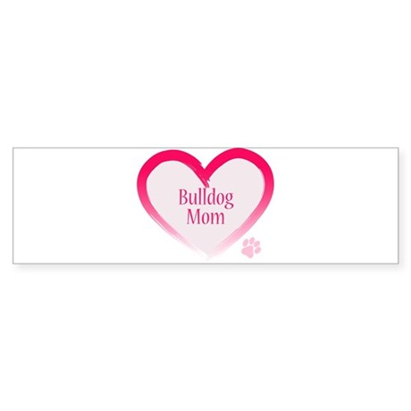 Bulldog Pink Heart Sticker (Bumper)