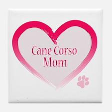 Cane Corso Pink Heart Tile Coaster