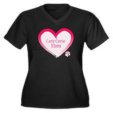 Cane Corso Pink Heart Women's Plus Size V-Neck Dar
