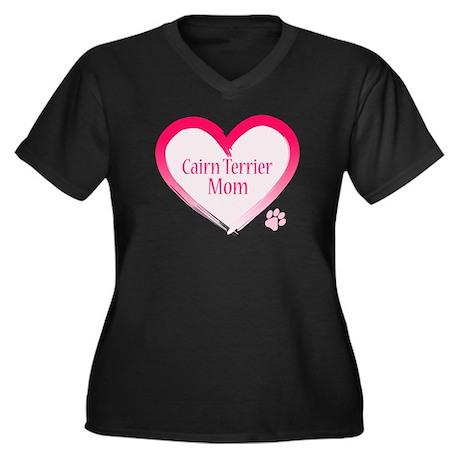 Cairn Terrier Pink Heart Women's Plus Size V-Neck
