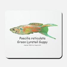 Green Lyretail Guppy Mousepad