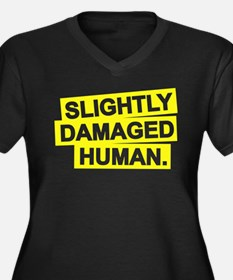 Damaged Human Women's Plus Size V-Neck Dark T-Shir