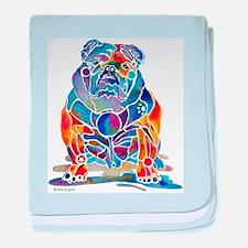 Whimsical English Bulldog baby blanket