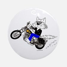 Motorcycle Cat Ornament (Round)