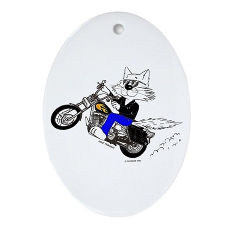 Motorcycle Cat Ornament (Oval)