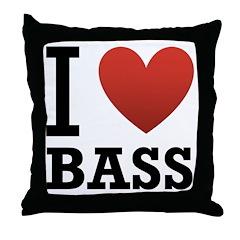 I Love Bass Throw Pillow