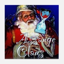 Assange Claus Tile Coaster