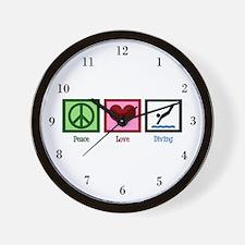 Peace Love Diving Wall Clock