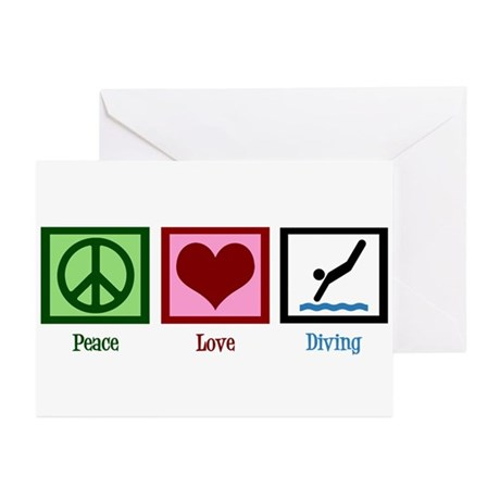 Peace Love Diving Greeting Cards (Pk of 10)