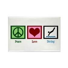 Peace Love Diving Rectangle Magnet