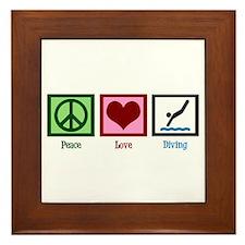 Peace Love Diving Framed Tile