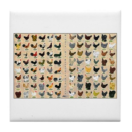 96 Roosters and Hens Tile Coaster