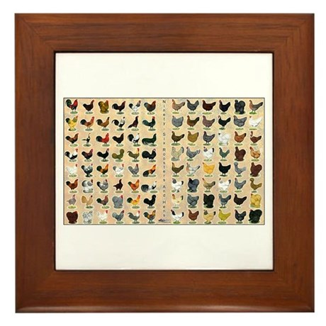 96 Roosters and Hens Framed Tile