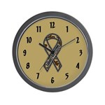 Support Our Troops Camo Ribbon Wall Clock