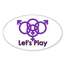 "Swinger Symbol ""Let's Play"" Oval Decal"
