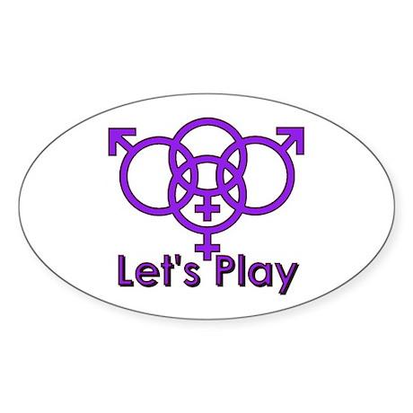 "Swinger Symbol ""Let's Play"" Oval Sticker"