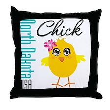 North Dakota Chick Throw Pillow