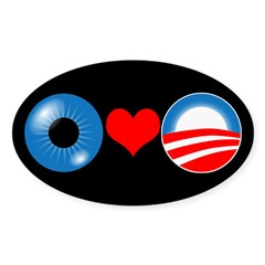 Eye Heart Obama Oval Bumper Decal