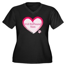 Wolfhound Pink Heart Women's Plus Size V-Neck Dark