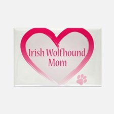 Wolfhound Pink Heart Rectangle Magnet