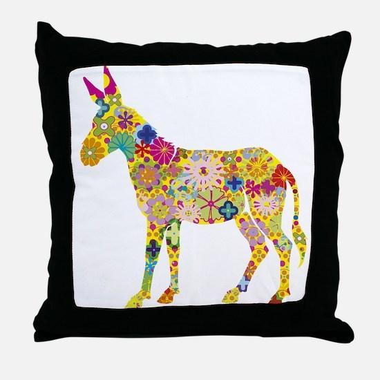 Flower Donkey Throw Pillow
