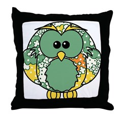 Retro Daisy Owl Throw Pillow