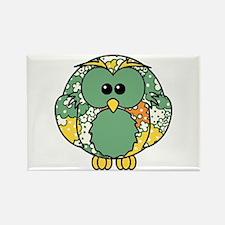 Retro Daisy Owl Rectangle Magnet