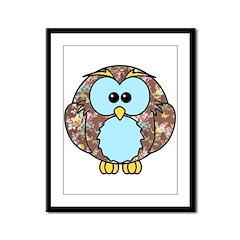 Country Rose Owl Framed Panel Print
