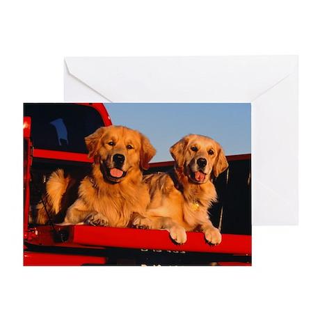 GOLDEN RETRIEVER PICKUP Greeting Card