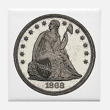 Seated Liberty Obverse Tile Coaster