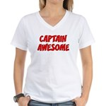 Captain Awesome Women's V-Neck T-Shirt