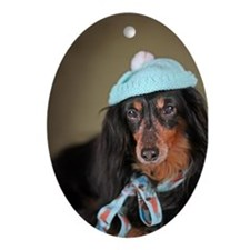 Hallie Dachshund Designs hat Ornament (Oval)