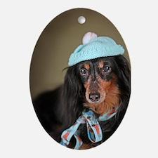 Hallie Dachshund Designs hat Ornament (Oval)