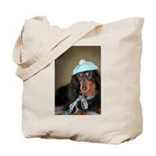 Hallie Dachshund Designs hat Tote Bag