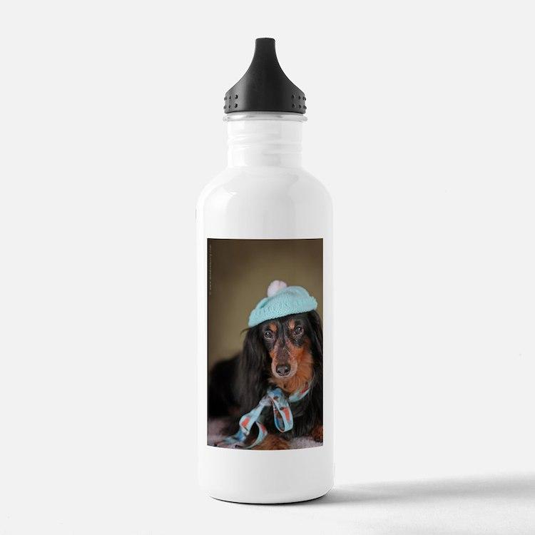 Hallie Dachshund Designs hat Water Bottle