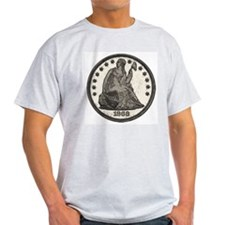 Seated Liberty Double-Sided Ash Grey T-Shirt